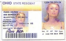 Paris Hilton's Fake Ohio Drivers License